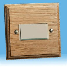 Varilight Kilnwood Fan Isolating Switch (3 Pole) Oak White Insert XKFIOW